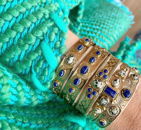 Bracelet SUZETTE ♡ lapis lazuli ♡ jaspe dalmatien