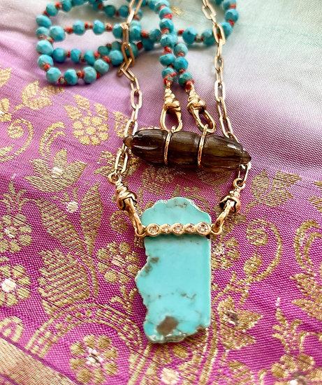 Collier JASMIN ♡ turqoise d'Arizona ♡ diamants