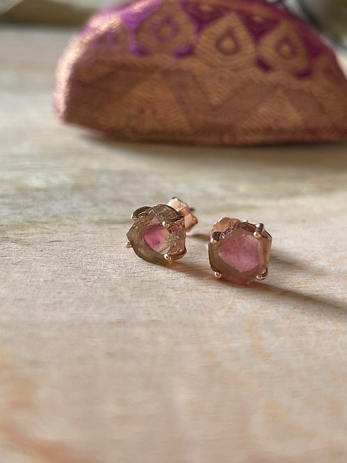 clou d'oreille tourmaline watermelon
