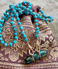 collier mai turquoise et labradorite
