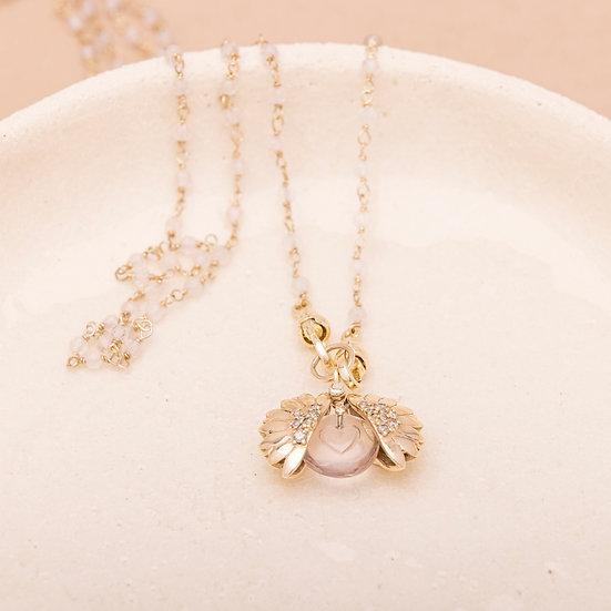 Collier SUNFLOWER ♡ quartz rose ♡ diamants