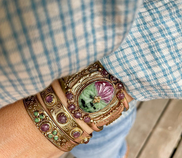 Bracelet SENSI ♡ lépidolite ♡ rubis zoisite