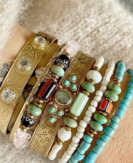Bracelet SIMON ♡ quartz rose ♡ perles africaines