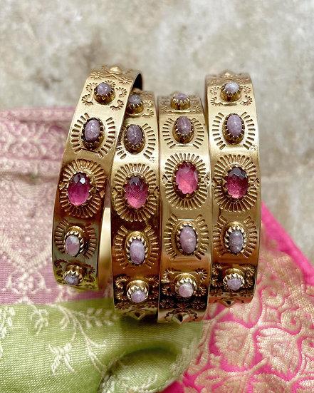 Bracelet SUZETTE ♡ tourmaline ♡ lépidolite
