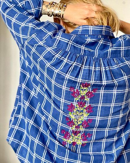 Chemise magic flowers ♡ bleu carreaux