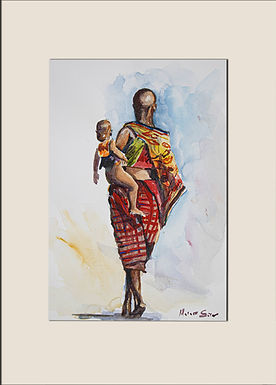 Maasai woman carrying baby