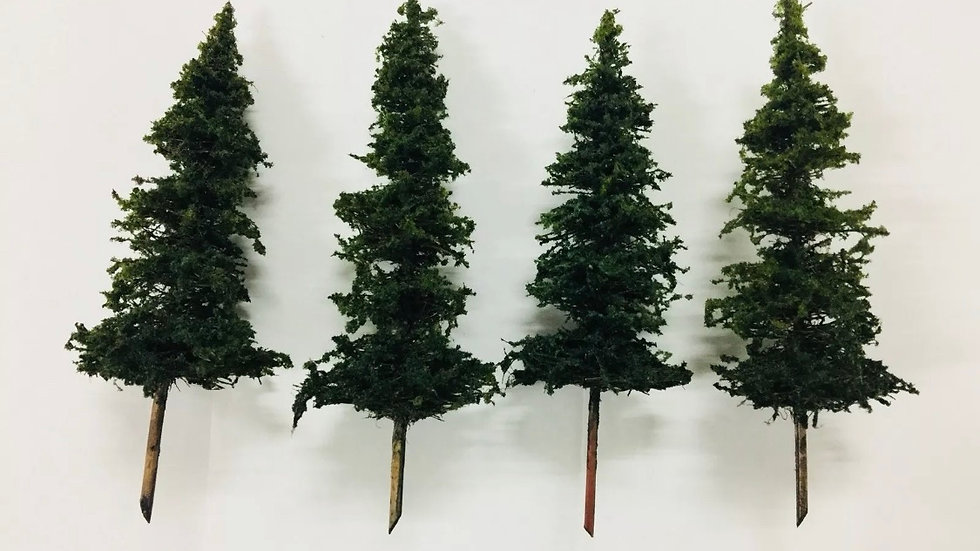 """Hand Made Scale Model Pine Trees X 4 - 100mm - 4"""""""