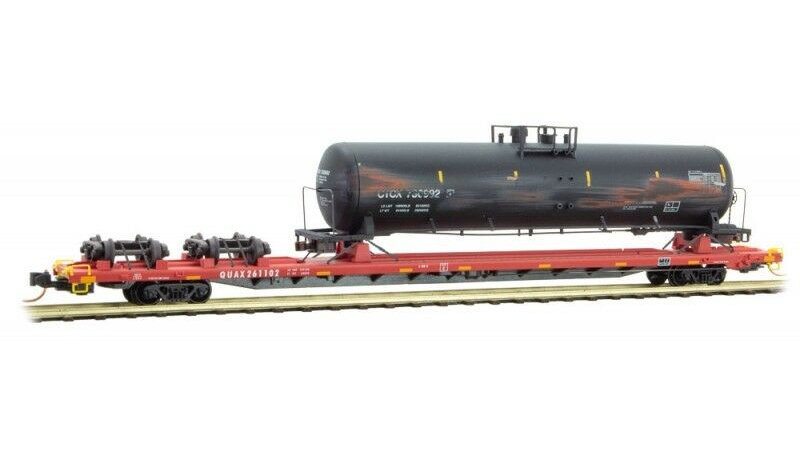 Micro-Trains N Scale QUAX 89' Flat Car w/Tank Car Salvage Pack #1 071 00 570