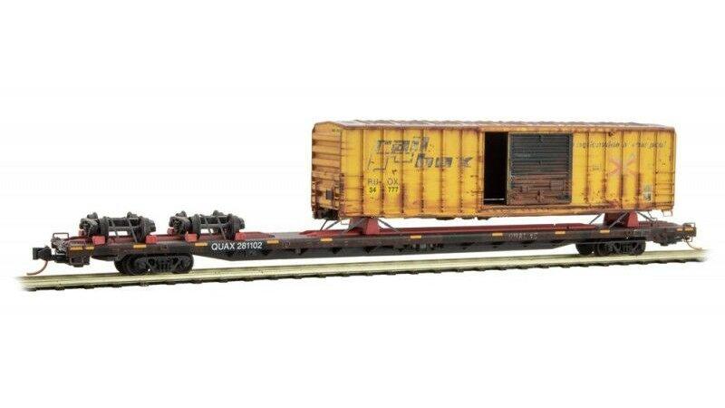 Micro-Trains N Scale QUAX 89' Flat Car w/Box Car Salvage Pack #2 071 00 580