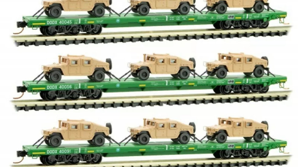 Micro Trains N Scale 99301612 - DODX Cascade Green Flat Car 3 pack w/ Humvees