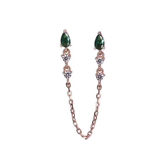 עגיל זרקונים ירוקים עם שרשרת מחברת לזוג חורים צמודים