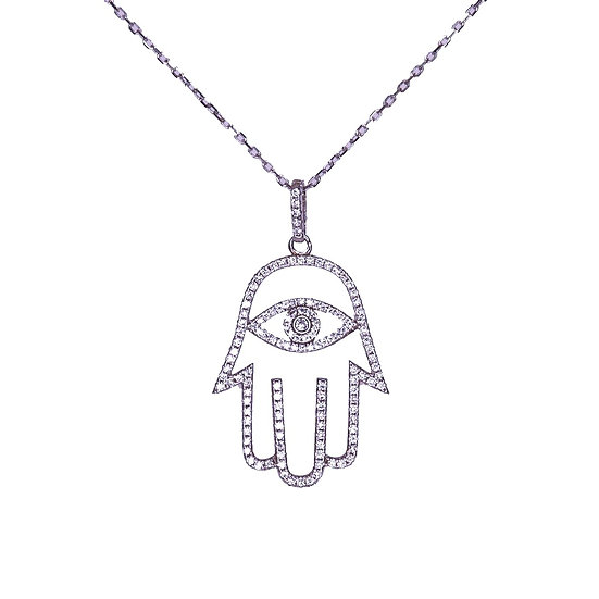 Hamsa necklace with an eye