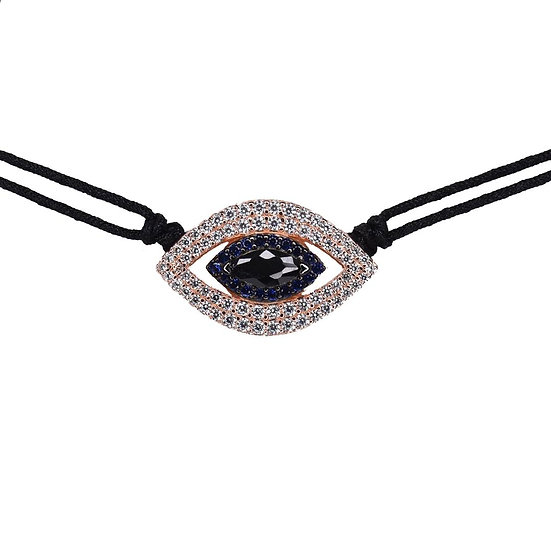 שרשרת צ'וקר חוט שחור עם עין כחולה חלולה