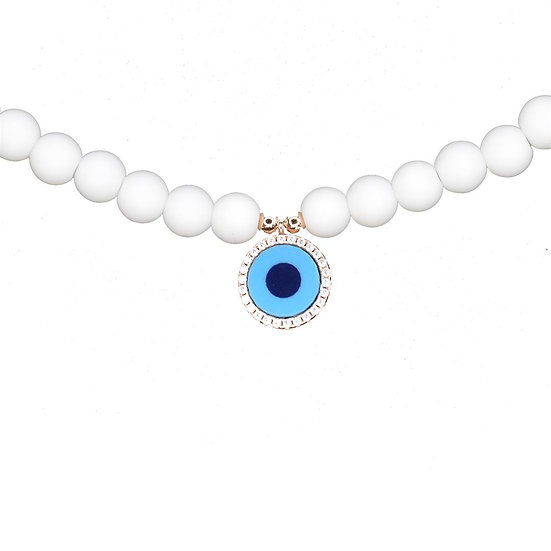 White beads necklace with turquoise evil eye