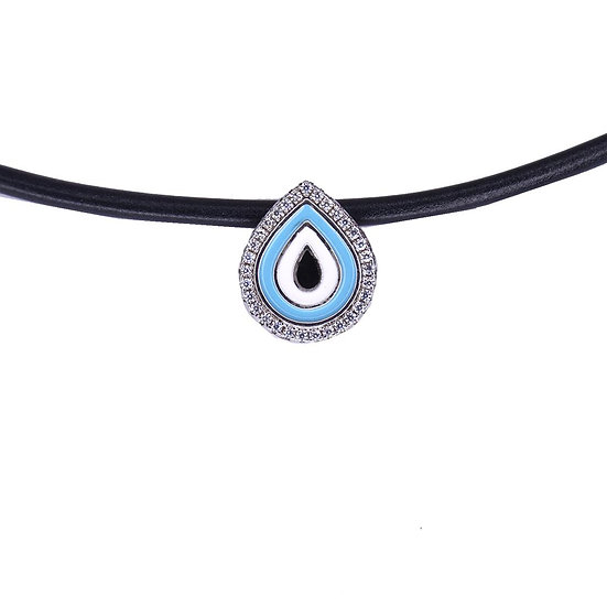Leather choker necklace with a drop evil eye