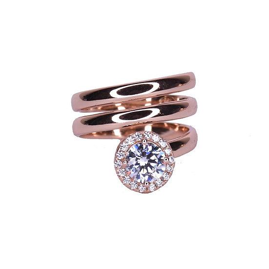 טבעת ספירלה עם אבן עגולה