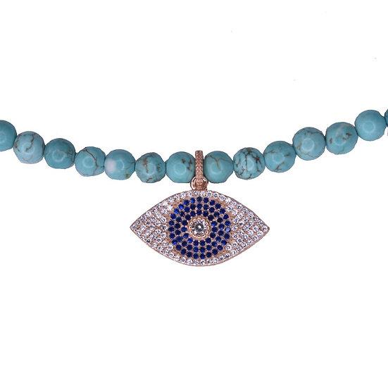 שרשרת חרוזים טורקיז עם עין כחולה