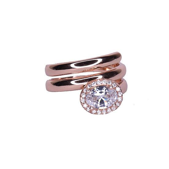 טבעת ספירלה עם אבן אובלית