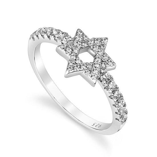 טבעת מגן דוד משובצת✡️