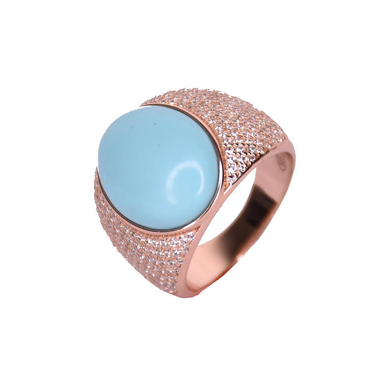 טבעת אובלית טורקיז