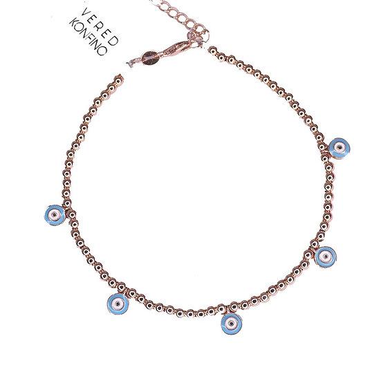 Ankle bracelet falling eyes with rose gold beads