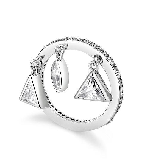 טבעת זרת אבנים נופלות