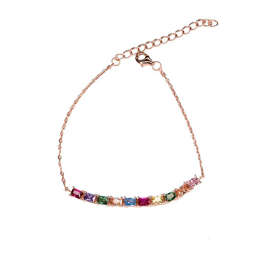Chain bracelet with colorful gems