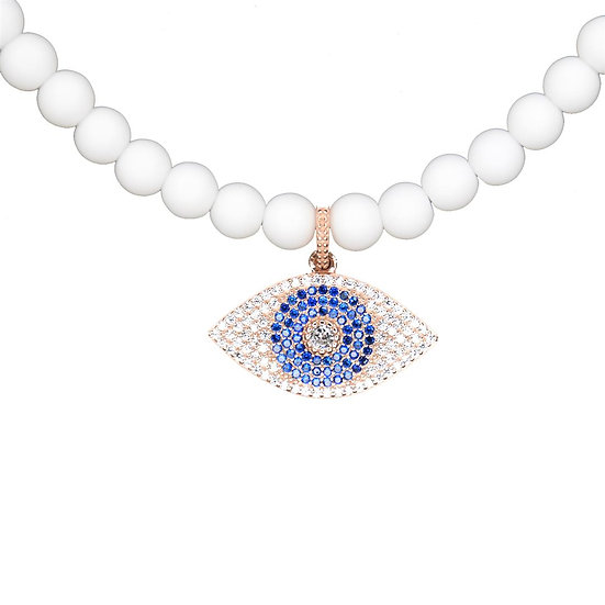 White beads necklace with blue evil eye