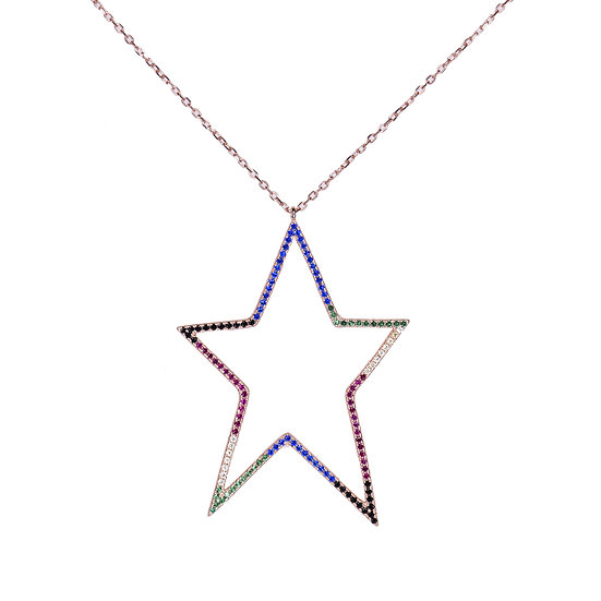 Colorful hollow star necklace
