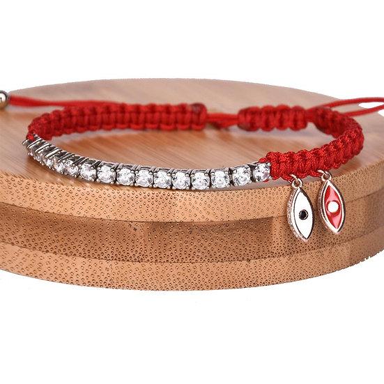 צמיד חוט אדום עם טניס ועיניים נופלות