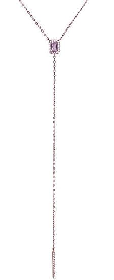 שרשרת אבן חן ורוד בייבי עם שרשרת נופלת