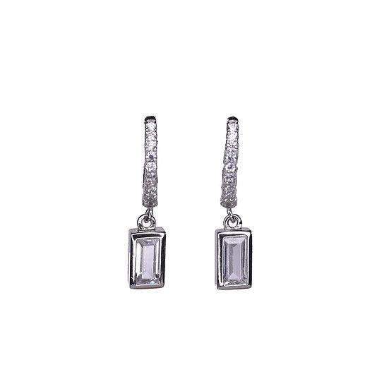 Falling stone hoop earrings