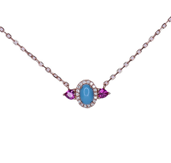 Turquoise evil eye necklace with ruby gems