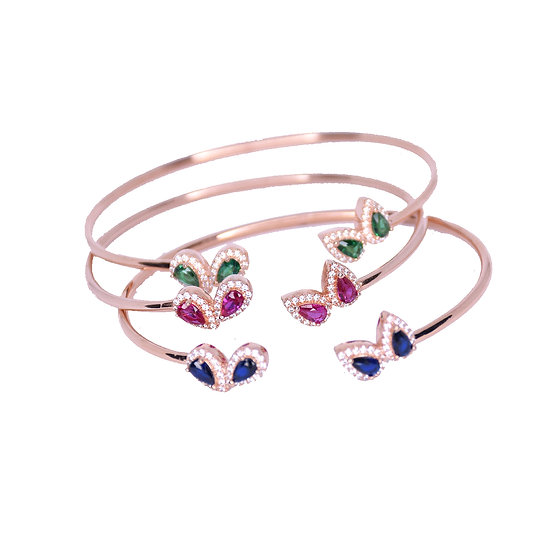 Open bangle bracelet with gems drops