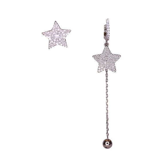 Stud star and drop star earrings
