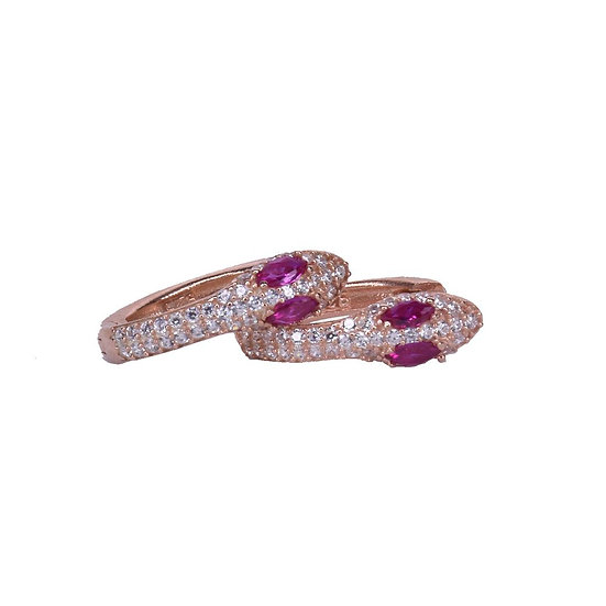 Ruby snake earrings