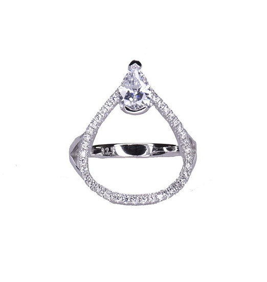 טבעת טיפה חלולה עם זרקון