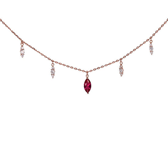 Zircons necklace with ruby gemstone in center