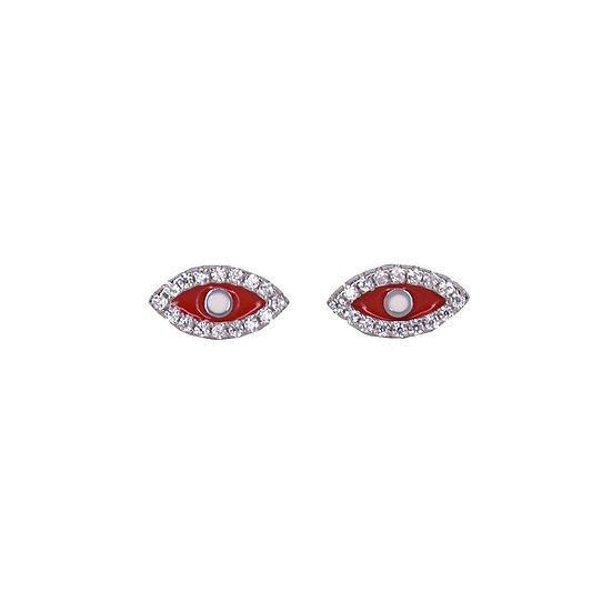 עגילי עיניים צמודות אדום\טורקיז\ורוד
