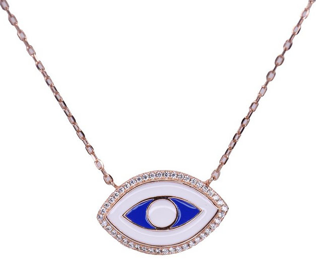 Blue enamel eye necklace
