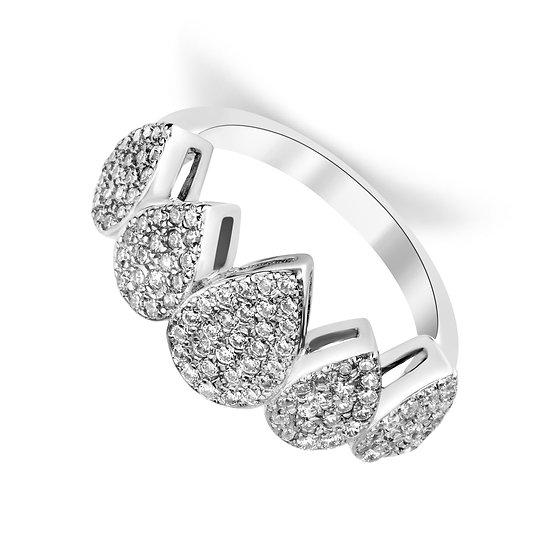 טבעת טיפות משובצת