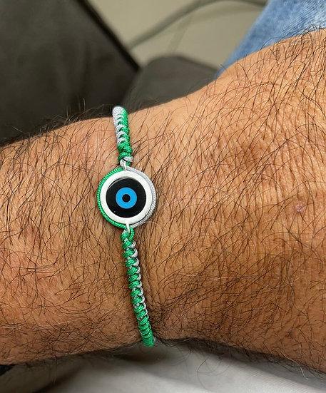 צמיד גבר חוט רקום ירוק עם עין עיגול