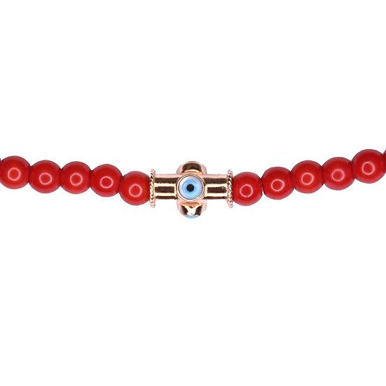 שרשרת חרוזים אדומים עם עין צינור