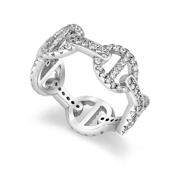 טבעת אובלים משובצת