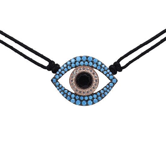 שרשרת צ'וקר חוט שחור עם עין טורקיז חלולה