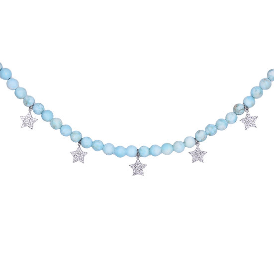 Beads necklace with falling stars