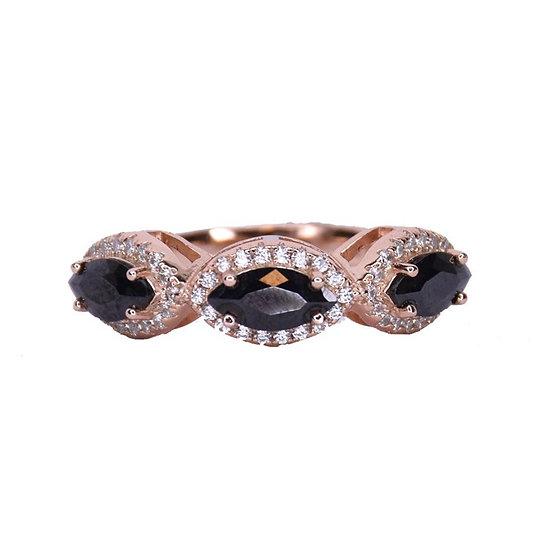 טבעת מעויינים שחורים