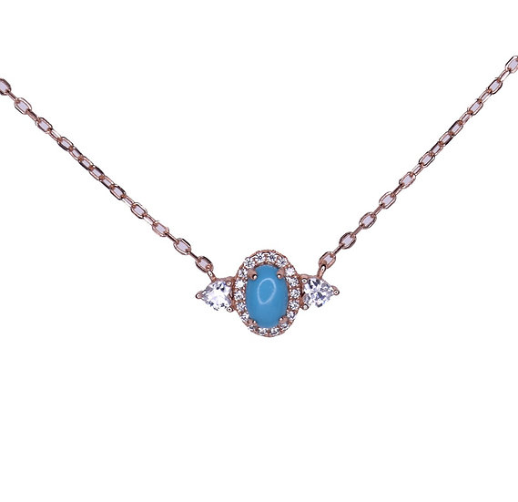 Turquoise evil eye with zircons necklace