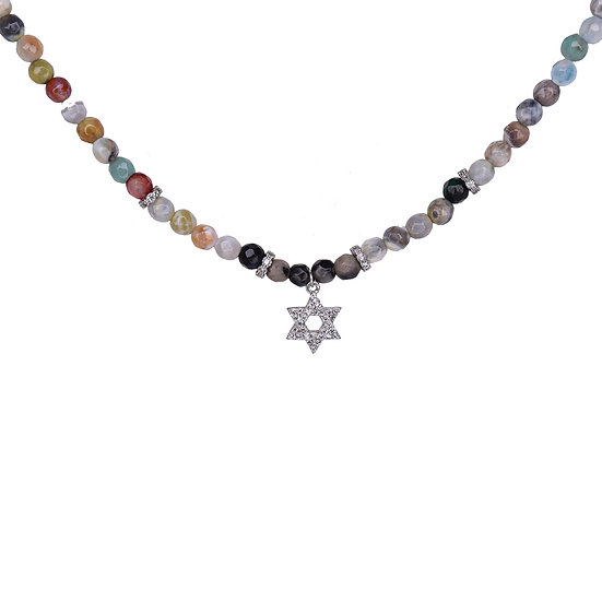 Colorful gemstone necklace with Star of David