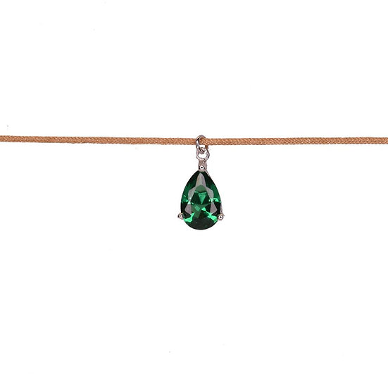 Choker necklace with drop zircon
